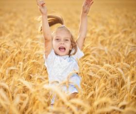 Little girl in wheat field Stock Photo 02