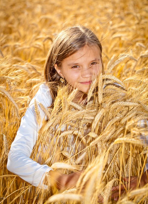 Little girl in wheat field Stock Photo 03
