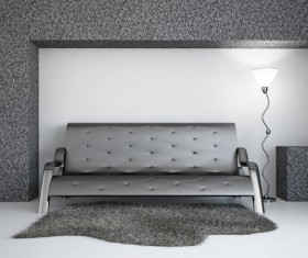 Living Room Black Fashion Sofa Stock Photo 01