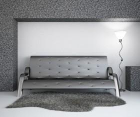 Living Room Black Fashion Sofa Stock Photo 01