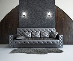 Living Room Black Fashion Sofa Stock Photo 02