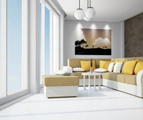 Living room fashion color sofa Stock Photo 02