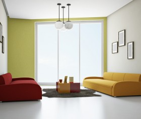 Living room fashion color sofa Stock Photo 03