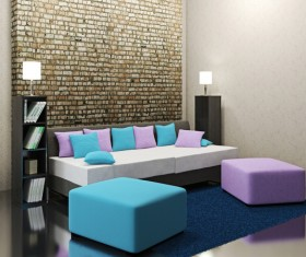Living room fashion color sofa Stock Photo 05