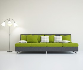 Living room fashion sofa and floor lamp Stock Photo 01