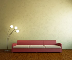Living room fashion sofa and floor lamp Stock Photo 02