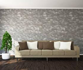 Living room fashion sofa and greenery Stock Photo