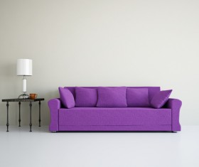 Living room purple fashion sofa Stock Photo 01