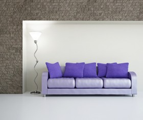 Living room purple fashion sofa Stock Photo 02