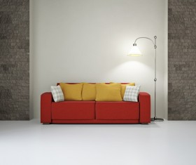 Living room red fashion sofa Stock Photo