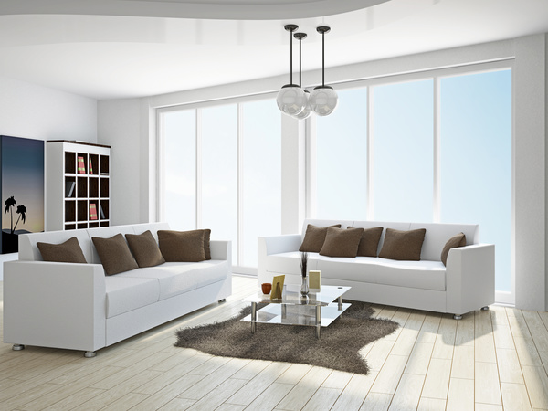Living room white sofa Stock Photo
