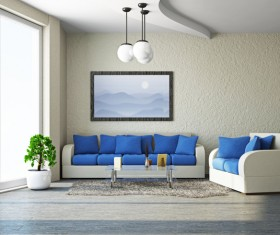 Living room white sofa and blue cushion Stock Photo