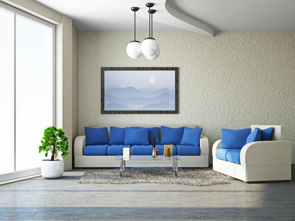 Living room white sofa and blue cushion Stock Photo