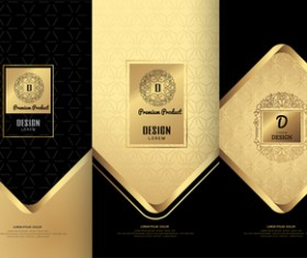 Luxury golden cover template vector 01