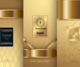 Luxury golden cover template vector 02