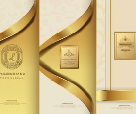 Luxury golden cover template vector 03