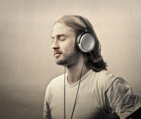 Man listening to music Stock Photo 01