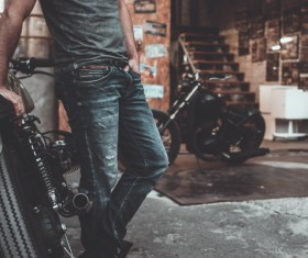 Man who loves motorcycles Stock Photo 01