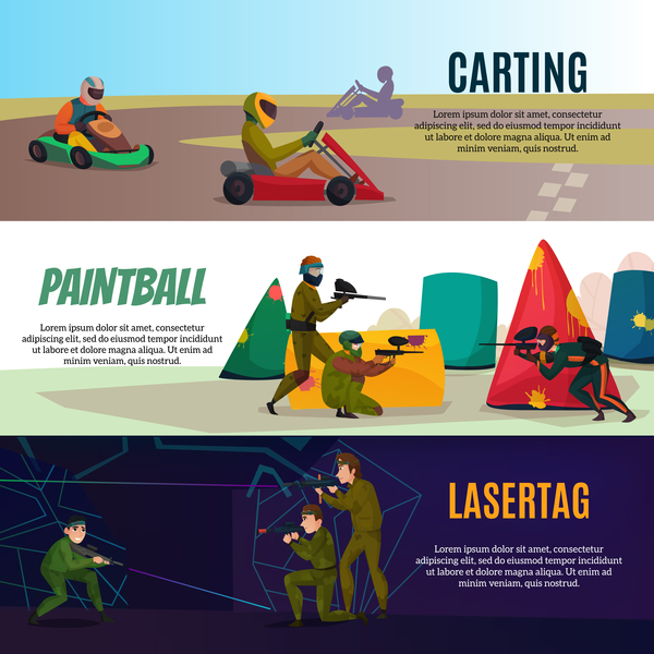 Modern gaming sports entertainment horizontal banners vector