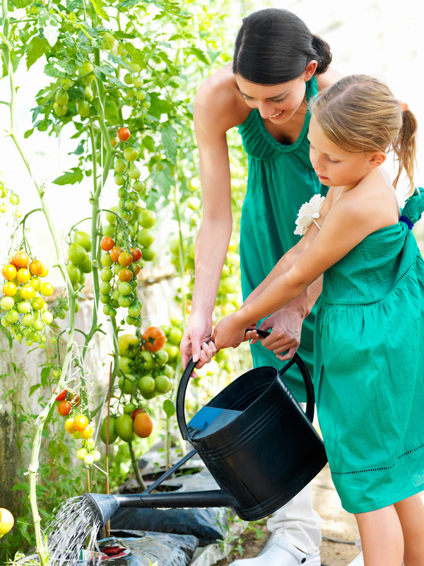 Mother and daughter watering vegetables Stock Photo