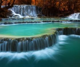 Mountain waterfall scenery Stock Photo 01