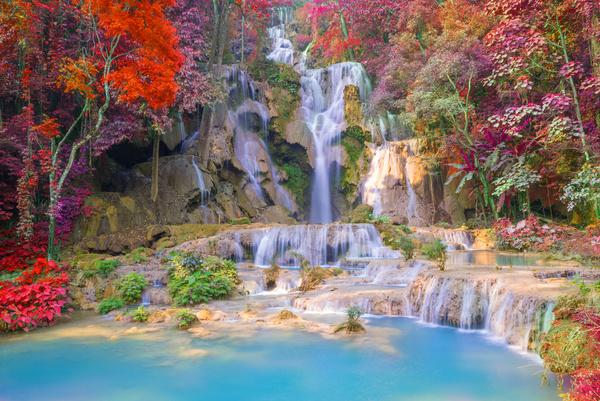 Mountain waterfall scenery Stock Photo 03