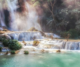 Mountain waterfall scenery Stock Photo 06