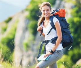 Mountaineering Woman tourist Stock Photo