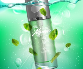 Natural mint cosmetic advertising poster vector