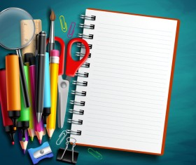 Notbook with back to school background vector 01