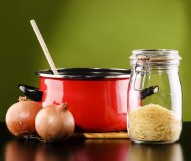 Onion and soup pot Stock Photo