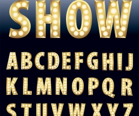 Orange neon alphabet vector material