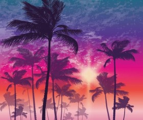Palm tree with sunset landscape vector