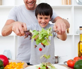 Parents teach children to cook Stock Photo 03