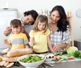 Parents teach children to cook Stock Photo 05