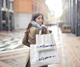 Paris street shopping girl Stock Photo