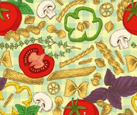 Pasta and vegetable pattern seamless vector 01