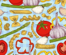 Pasta and vegetable pattern seamless vector 02