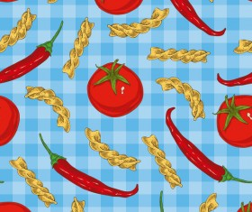 Pasta and vegetable pattern seamless vector 03