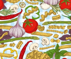 Pasta and vegetable pattern seamless vector 04