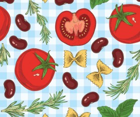 Pasta and vegetable pattern seamless vector 05