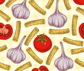 Pasta and vegetable pattern seamless vector 06