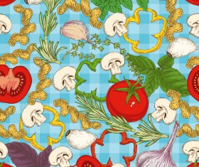 Pasta and vegetable pattern seamless vector 10