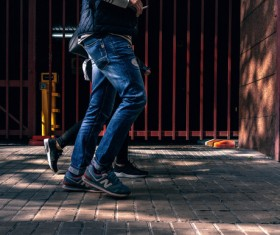 People walking on road with casual jeans style Stock Photo