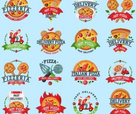 Pizza labels vector design set
