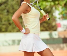 Pretty woman tennis player Stock Photo 01