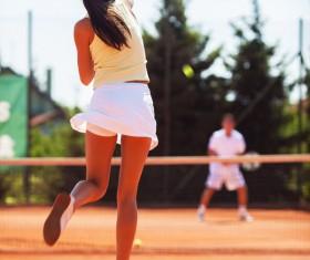 Pretty woman tennis player Stock Photo 03