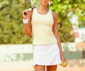 Pretty woman tennis player Stock Photo 04