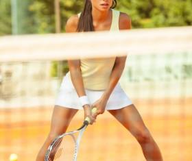 Pretty woman tennis player Stock Photo 05