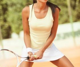 Pretty woman tennis player Stock Photo 06